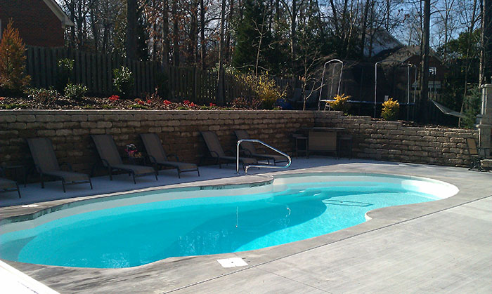 Decking coping k built construction of burlington nc for Fiberglass pool installation