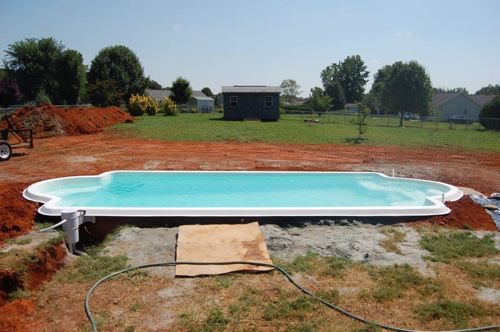 Fiberglass swimming pool installation in burlington nc for Fiberglass pool installation